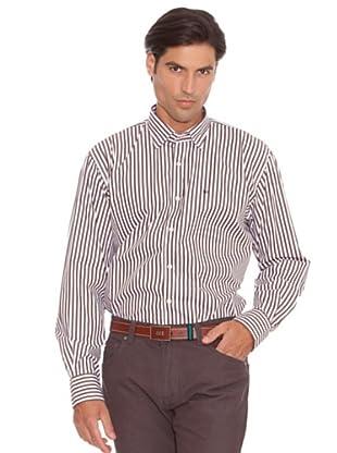 PEDRO DEL HIERRO Camisa Raya Ancha (Marrón / Blanco)