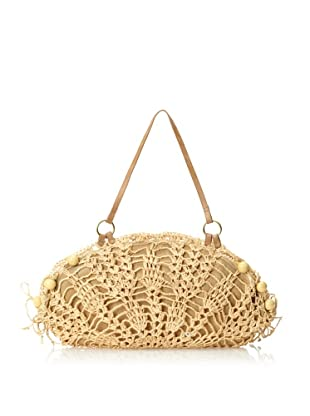 Florabella Women's Ponza Crochet Raffia & Leather Handbag, Natural