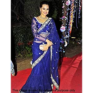 Indian Ethnic Designer Bollywood Party Wear Sarees Sari Traditional Women Wedding Sonakshi sinha Blue saree