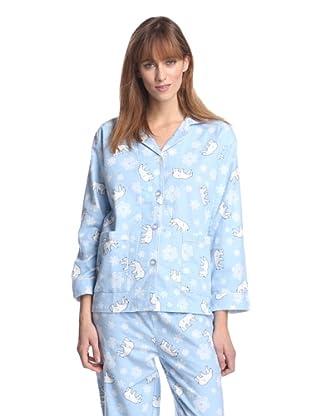 Aegean Apparel Women's Polar Bear Pajama Set (Light Blue/Multi)