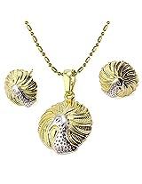 Via Mazzini Gold Plated Two-Tone Peacock Pendant & Earrings Set