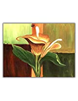 TIA Creation Yellow Flower Canvas 0399 Print on Cotton Canvas 31inch x 22inch