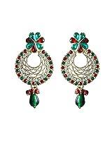 Unicorn Earring Elegant Jali with Kundan and Pearl in Zinc for Women (Reverse Multi) - UEKMER5002GR