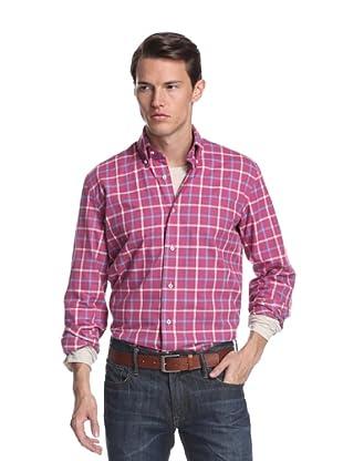 Nikky Men's Regular Fit Hand-Made Shirt (Red Plaid)