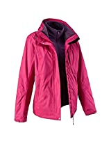 QUECHUA ARPENAZ 300 RAIN WOMEN'S WATERPROOF 3 IN 1 JACKET - PINK (XXS)