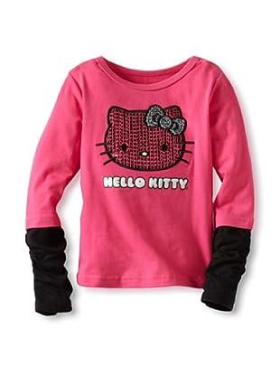 Hello Kitty Girl's 2-6X Contrast 2-fer Sleeve Top (Fuchsia Purple)
