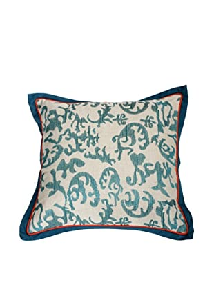 Filling Spaces Embroidered Abstract Ikat Pillow, Teal