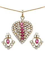 13.70 Grams Red Cubic Zirconia & White Cubic Zirconia Gold Plated Brass Pendant Set