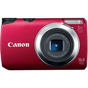Canon PowerShot A3300 IS 16.0 MP with 5x Wide-Angle Optical Zoom (Red)
