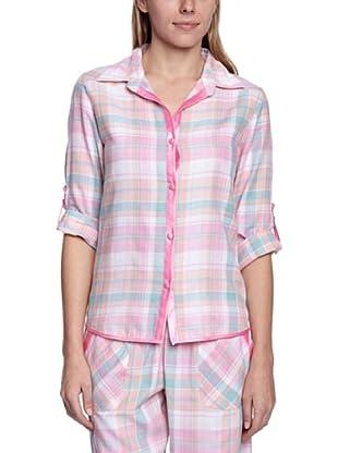 Cyberjammies Camisa De Pijama Candy Floss Checks (Blanco / Rosa / Celeste)