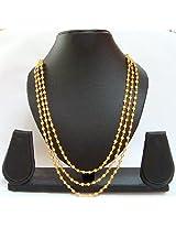 Gold polished three line mala