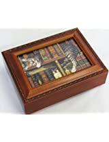 Cat Sleeping in Library Wooden Music Box Plays That's What Friends are For MB249