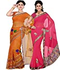 Ishin Combo of 2 Tissue Net Saree Combo 65