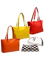 Fidato Combo Of 3 Women Handbags And 2 Clutches