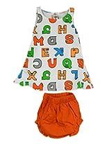 Ssmitn Baby Wear Alphabet Printed Orange Frock With Bloomer For Girls