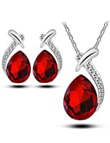 Red Designer Austrian Pendant & Earring Set For Women by ETERNO FASHIONS