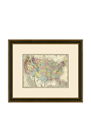 Antique Lithographic Map of the United States, 1886-1899