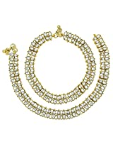 The Jewelbox Traditional Leaf Antique Gold Plated Kundan Anklet Pair For Women
