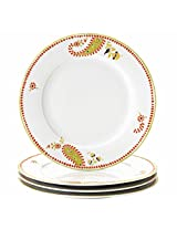 Rachael Ray Dinnerware Paisley 4-Piece Porcelain Dinner Plate Set