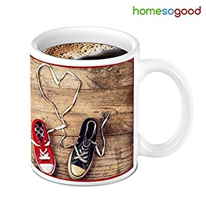HomeSoGood Unique Design With Wooden Touch Print Coffee Mug