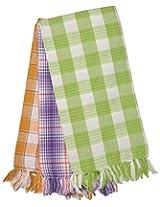 Viswalaya Fashion 135 GSM 3 Piece Cotton Bath Towel Set - Green, Violet & Brown