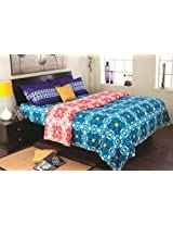 Portico New York Cadence Cotton Bedsheet with 2 Pillow Covers - King Size, Blue (9042911)