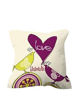 Funda de Cojín Love flores (Multicolor)