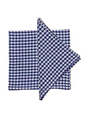 Set of 4 Becca Gingham Napkins, Blue/White