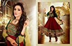 Designer Maroon colour Georgette Embroidered Anarkali dress.