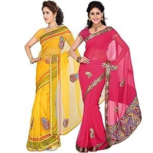 ISHIN Combo of 2 Tissue Net & Chiffon saree