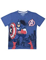 Captain America Tween Boys Half sleeve T- Shirt - Blue