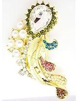 Designer Saree Pin & Brooch, Multi Color Stone & White Kundan Stud, Gold Tone, For Women