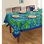 Swayam Blue And Green Printed Cotton Table Sheet