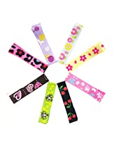 Wrapables Girls Ribbon Lined Alligator Clips (Set of 8), Hearts and Flowers