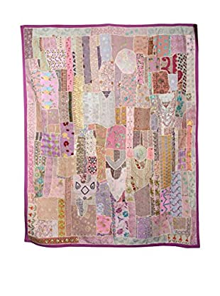 Uptown Down One-of-a-Kind Patchwork Blanket of Vintage Tribal Collars, Pink/Purple