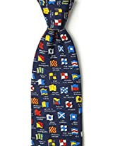 Navy Blue Silk Tie | Boating Signals Necktie