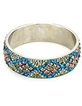 Chamak by priya kakkar Turquoise-Color Crystal and Gold Gromits Bangle Bracelet