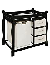 Black Sleigh Style Changing Table with Hamper/3 Baskets by Badger Basket # 02404