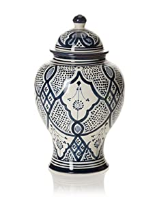 Hand-Painted Ceramic Jar (Blue/White)