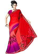 Shree Bahuchar Creation Women's Chiffon Saree(Skb30, Red)