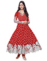 Suchi Fashion Red Heavy Embroidery Georgette Party Wear Semi Stitched Anarkali Suit