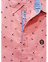 AA' Southbay Men's Baby Pink Ace Print 100% Cotton Half Sleeve Casual Shirt
