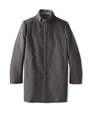 Calvin Klein Collection Men's Top Coat with Woven Trim (Gotham)