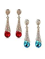 Aaishwarya Sizzling Crystal Drop Earrings Combo (Set Of 2)