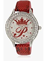 H Ph12987js/04B Red/Silver Analog Watch Paris Hilton