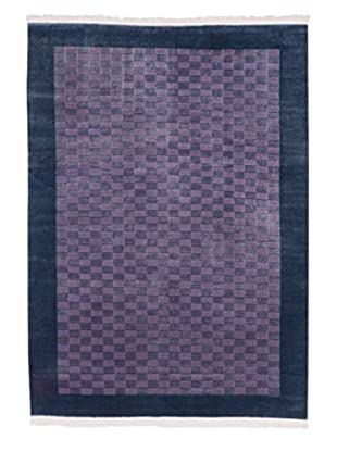eCarpet Gallery One-of-a-Kind Hand-Knotted Aurora Rug, Cyan/Magenta, 5' 6