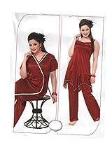 Indiatrendzs Women's Sexy Hot Nighty Maroon 3pc Set Bedroom Sleepwear Freesize