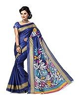 ISHIN Bhagalpuri Silk Blue Printed Saree