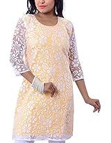 Riiti Designs Women's Cotton and Super Net Kurti (Rii040-L, Yellow and White, L)