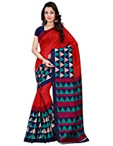Silk Bazar Women's Tassar Silk Saree with Blouse Piece (Red & Blue)